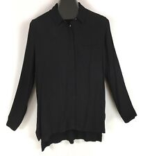 STACCATO Boutique High Low Hem Button Front Tunic Shirt Black Sz L NWT
