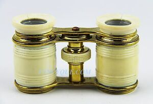 ANTIQUE FANCY GOLD PLATED FRENCH OPERA GLASSES MADE OF BONE  #59 GREAT CONDITION