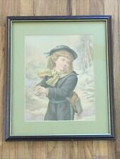 School Girl at Play Antique Framed Color Print Girl in Blue Snow Play