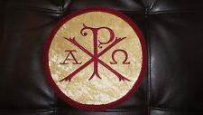Chi-Rho Vestment Center 9in on Gold Velvet Circle & Red trim With Red Chi-Rho