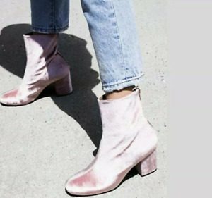 Eu 38 US 8 Free People Womens Velvet Chunky Heel Zip Up Ankle Booties Blush Pink