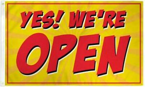 YES! WE'RE OPEN Advertising Flag Banner Sign 3x5 ft Business Store Red 100D
