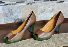 FARYLROBIN Heels Green Leather Peep Toe Size 11M