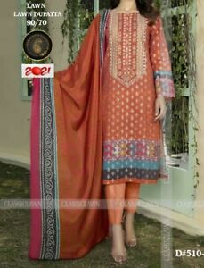 New Pakistani Traditional Stitched Embroidered Lawn Women's 3 Piece Full Suit -