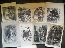 8 PIEC Vintage Lithograph Linocut Etching Drawing Soviet USSR Russian Art Print