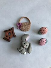5 Novelty flat & shank Back Buttons Springtime Bunny Ladybugs Birdhouse & Basket