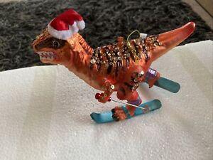 Large 17cm Glass Skiing Dinosaur Fun Christmas Tree Hanging Novelty Ornament -F