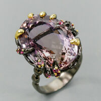 AA IF 24x17 mm. Natural Ametrine 925 Sterling Silver Ring Size 8.5/R123676