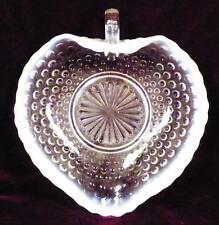 Anchor Hocking Moonstone Heart Handle Bon Bon Dish Clear Opalescent Glass 1940s