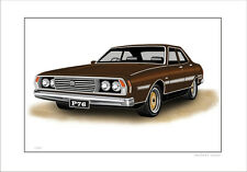 LEYLAND P76  V8 TARGA FLORIO LIMITED EDITION CAR DRAWING PRINT ( 3 CAR COLOURS)
