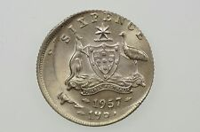 1957 Sixpence Variety Error Mis-Strike and Double Strike in aUnc Condition