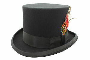 Black Top Hat Wool Quality Hand Made Felt Ascot Wedding Hat 5 Sizes