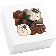 White Cookie Boxes 6x6x3 Inches 20pcs With Window Bakery Pastry Cupcake Ampamp