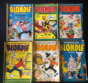 JERRY WEIST ESTATE:6 issues of BLONDIE COMICS MONTHLY (Harvey 1950-53) NO RES!