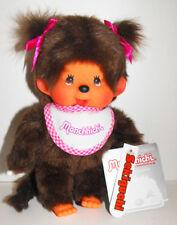 Monchhichi Girl Pink Bib and Pink Ribbon Pig Tails Sekiguchi Monchichi Doll Toy