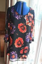 East size 12 Black Floral floaty 3/4 sleeve Chiffon lined Top black beads sequin