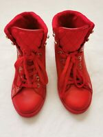 Aldo Women's or Men's High Top Quilted Red Sneakers Size 9 Unisex Shoes EUC