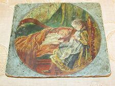 """19th siècle peinture à l'huile sur bois plaque """"enfants"""""""