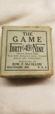 Very Old Card Game Original The Game Forty 49 Nine Edw. P. McCollum Baltimore MD