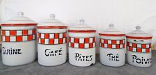 Set 5 Antique French Enamel Kitchen Storage Canisters - Tins