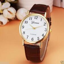 Ladies Gold Geneva Quartz Platinum White Faced Brown Band Wrist Watch.(Aussie)