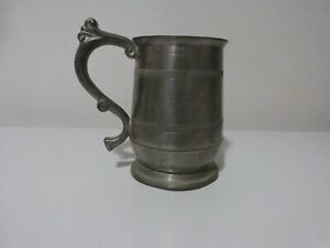 Pewter Pitcher Pint Jug Curved Handle BPC Stamped Base