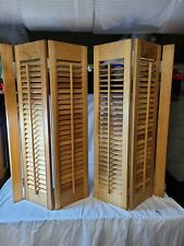 """Vintage Interior Solid Wood Window Plantation Shutters Louvered 32""""×32"""" unfinish"""