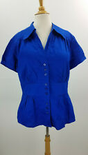 NWT Ann taylor women short cup sleeve buttons front deep blue shirt size 10