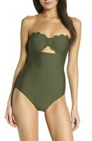 Chelsea28 Women's Size Small Olive Scallop Bandeau One-Piece Swimsuit $89