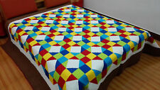 Spring time  Sale King  size machine pieced and quilted Patchwork quilt #NJ-32