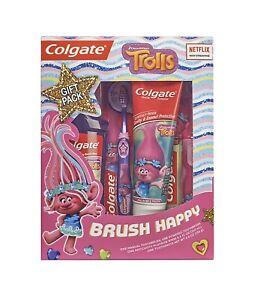 New Trolls Colgate Brush Happy Gift Pack Spinbrush Rinse Paste & Regular Brush
