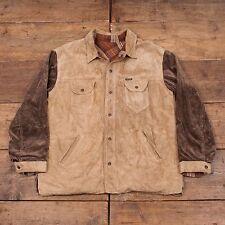 """Mens Vintage Diesel Leather Corduroy Reversible Jacket Beige Brown L 44"""" R4646"""