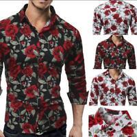 Rose Flower Printed Shirts Men's Luxury Long Sleeve Tops Tee Slim Fit Casual Tee