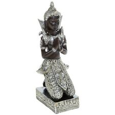 KNEELING BUDDHA IN THAI DESIGN STYLE ORNAMENT GIFT SILVER ANTIQUE STYLE STATUE