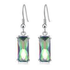 "Mystic Rainbow Topaz Silver Women Jewelry Engagement Drop Earrings 1 1/2"" FH8349"