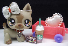 LITTLEST PET SHOP #491 GRAY SHEPHERD BOW STARBUCKS M & M'S WAGON ACCESSORIES