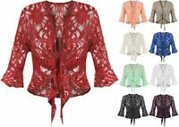 New Ladies Women's Plus Size Flared Sleeve Sequin Tie Front Lace Shrug Cardigan