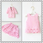 2158 Boutique 3Ps Pink Sets Top + Skirt + Pink Lace Blazer All Cotton Lined