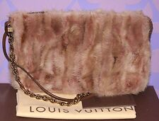 Louis Vuitton $4400 Caresse Lockit Accessories Pochette MM Mink Fur Bag LIMITED!