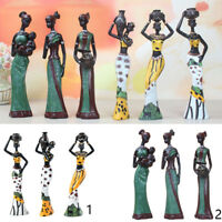 African Figures Sculpture Tribal Lady Figurine Statue Table Stand, Art Decor
