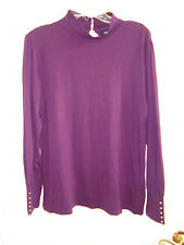 9f2a3ab9279023 Elisabeth Hasselbeck for Dialogue Purple Gathered Neck Knit Top L EUC