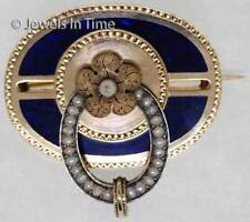 14K Yellow Gold Vintage Pearl & Enamel Brooch