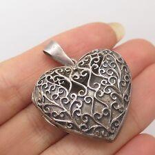 Vtg 925 Sterling Silver Heart Handmade Openwork Locket Pendant