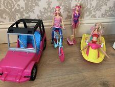 Barbie Jeep - Speed Boat - Bike & Scuba Diver Bundle - 3 X Dolls