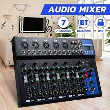 Mischpult 7-Kanal bluetooth USB Mini Audio Mixer Record DJ Konsole Verstärker