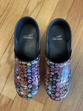 Womens Dansko Clogs Size 38 Colored Dots/ Script