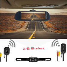 "7"" Wireless LCD Screen Mirror Monitor+Car Rear View Backup Reverse IR Camera Kit"