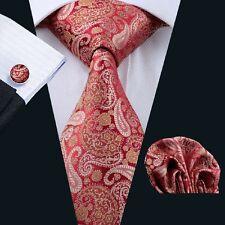 Klassisch Rot Paisley Krawatte Set Taschentuch Manschettenknöpfe Seide N-1113
