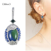 Woman Retro 925 Silver Real Blue Opal Sapphire Ear Hook Stud Earrings Wedding