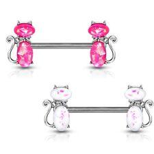 "GLITTER CATS NIPPLE RING BARBELLS SURGICAL STEEL PIERCINGS 14G 9/16"" (Pair)"
